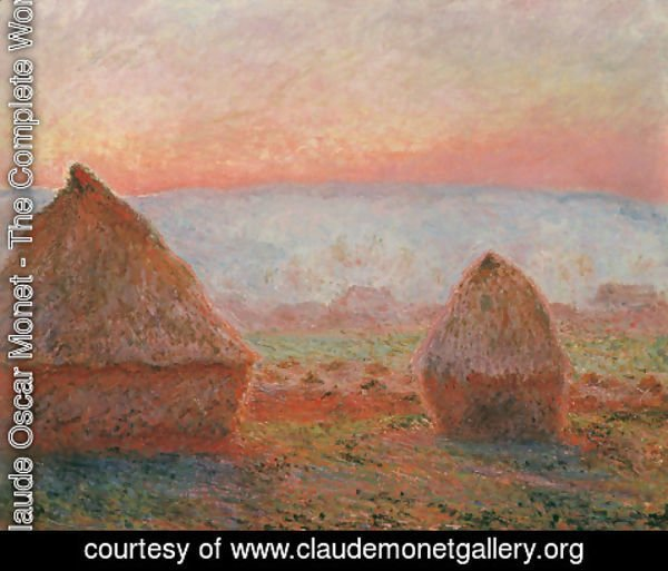 Claude Oscar Monet - Les Meules à Giverny, soleil couchant (Haystacks at Giverny, the evening sun)