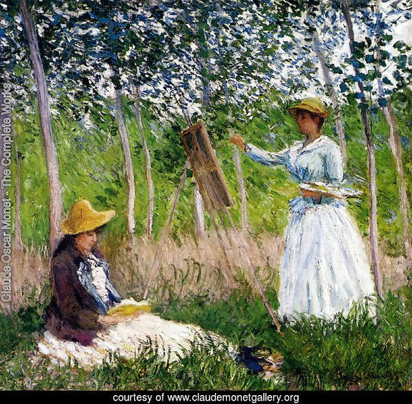 In The Woods At Giverny - BlancheHoschede Monet At Her Easel With Suzanne Hoschede Reading