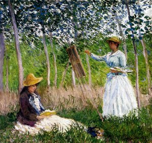 Claude Oscar Monet - In The Woods At Giverny - BlancheHoschede Monet At Her Easel With Suzanne Hoschede Reading