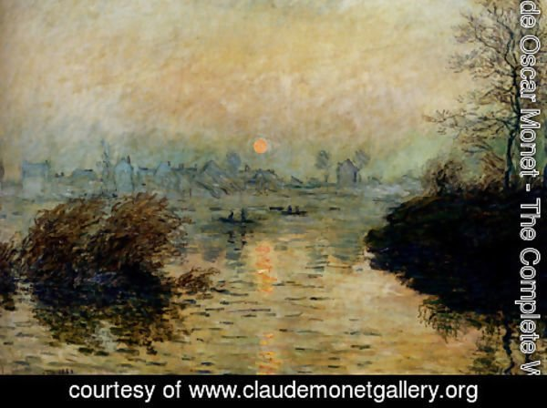Claude Oscar Monet - Sun Setting Over The Seine At Lavacourt, Winter Effect