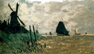 Claude Oscar Monet - A Windmill Near Zaandam
