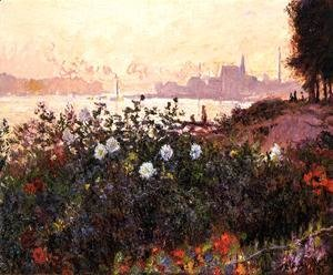 Claude Oscar Monet - Argenteuil, Flowers by the Riverbank