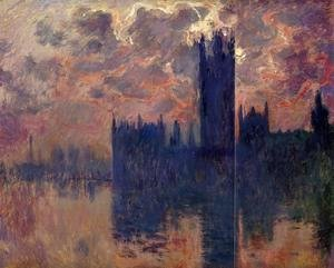 Claude Oscar Monet - Houses of Parliament, Sunset (detail)