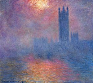 Claude Oscar Monet - Houses of Parliament, Effect of Sunlight in the Fog I