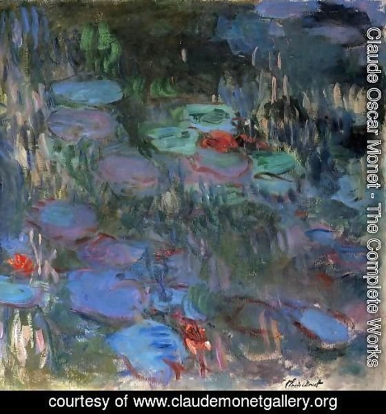 Claude Oscar Monet - Water-Lilies, Reflections of Weeping Willows (right half)