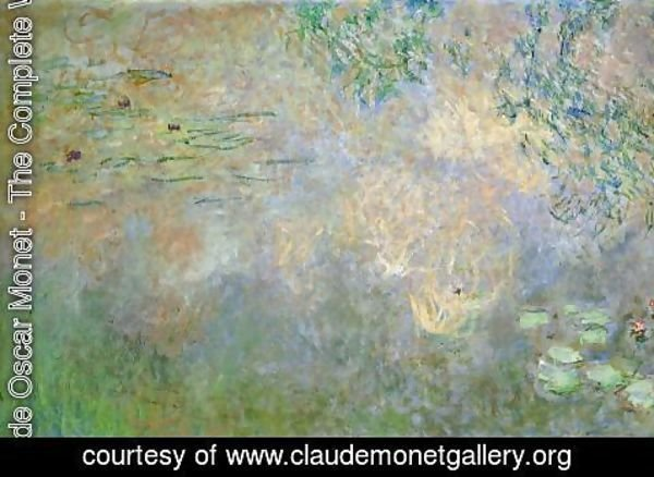 Claude Oscar Monet - Water-Lily Pond with Irises (left half)