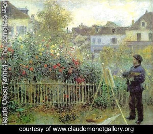 Claude Oscar Monet - Renoir Painting In His Garden (1873)