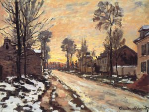 Claude Oscar Monet - Road at Louveciennes, Melting Snow, Sunset