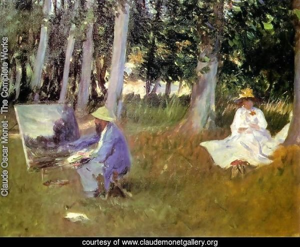 Sargent Claude monet_painting_in a garden 1885