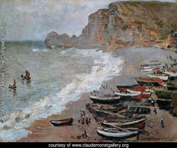 The Beach and Cliffs of Amont at Etretat 1883