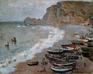 Claude Oscar Monet - The Beach and Cliffs of Amont at Etretat 1883
