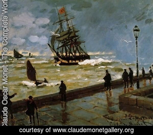 Claude Oscar Monet - The Jetty at Le Havre in Rough Westher