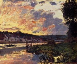 Claude Oscar Monet - The Seine at Bougeval, Evening