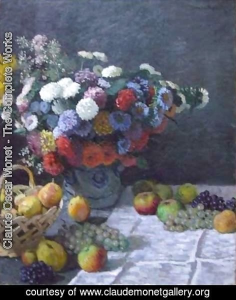 Claude Oscar Monet - Still Life with Flowers and Fruit