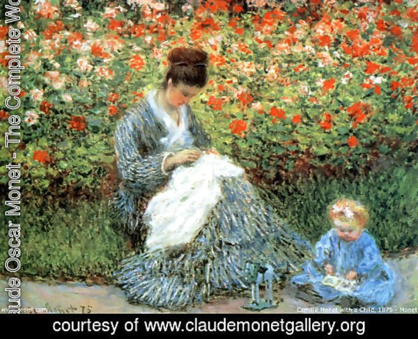 Claude Oscar Monet - Camille Monet and a Child in Garden