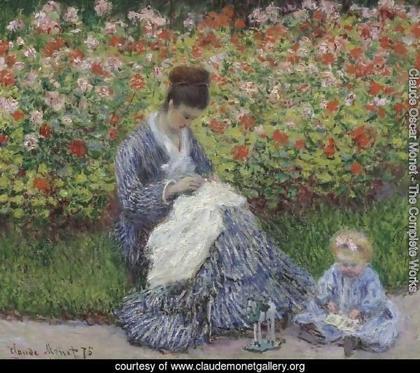 Camille Monet and a child in the artists garden in Argenteuil 1875
