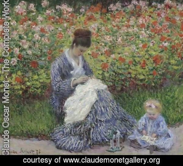 Claude Oscar Monet - Camille Monet and a child in the artists garden in Argenteuil 1875