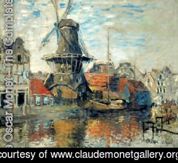 Claude Oscar Monet - Le Moulin de lOnbekende Gracht, Amsterdam (The Windmill on the Onbekende Canal, Amsterdam) 1871