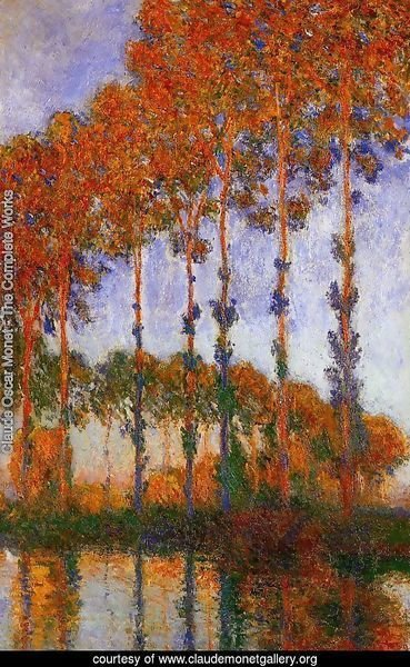 Poplars on the Banks of the River Epte Sunset 1891