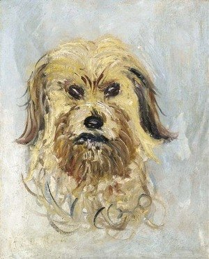 Claude Oscar Monet - Tete de chien griffon, Follette