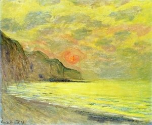 Claude Oscar Monet - Soleil Couchant, Temps Brumeux, Pourville