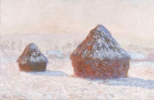 Claude Oscar Monet - Wheatstacks Snow Effect Morning