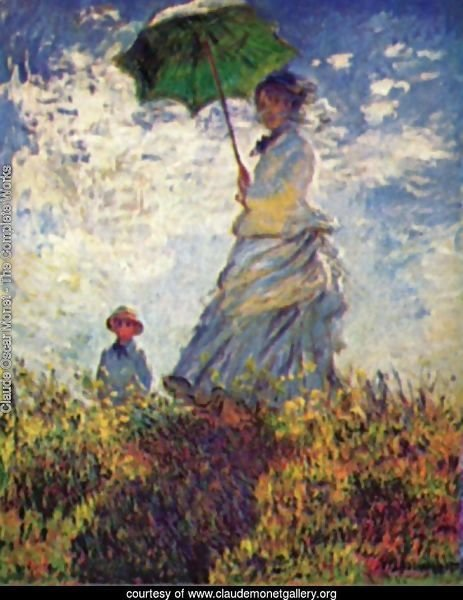 Camille Monet and son Jean on the hill