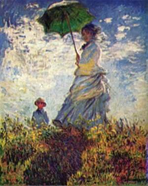 Claude Oscar Monet - Camille Monet and son Jean on the hill