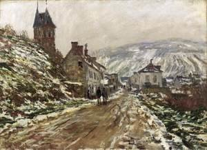Road into Vetheuil in Winter