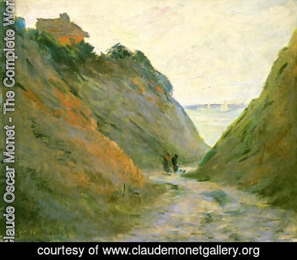 Claude Oscar Monet - The Sunken Road in the Cliff at Varangeville