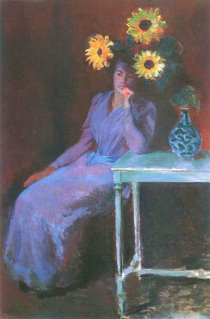 Claude Oscar Monet - Portrait of Suzanne Hoschede with Sunflowers
