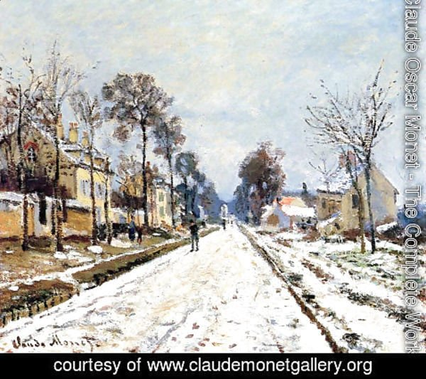 Claude Oscar Monet - Snow Effect, The Road to Louveciennes