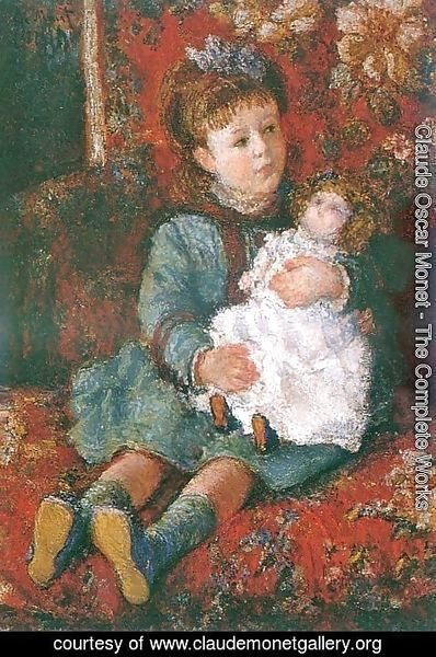 Claude Oscar Monet - Portrait of Germaine Hoschede with a Doll