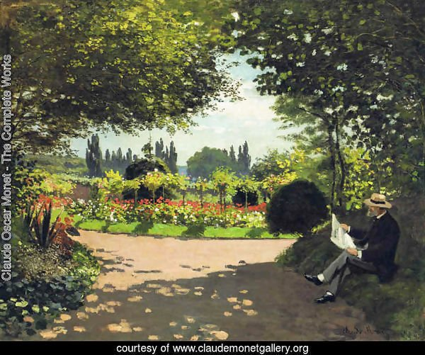 Adolphe Monet Reading in the Garden