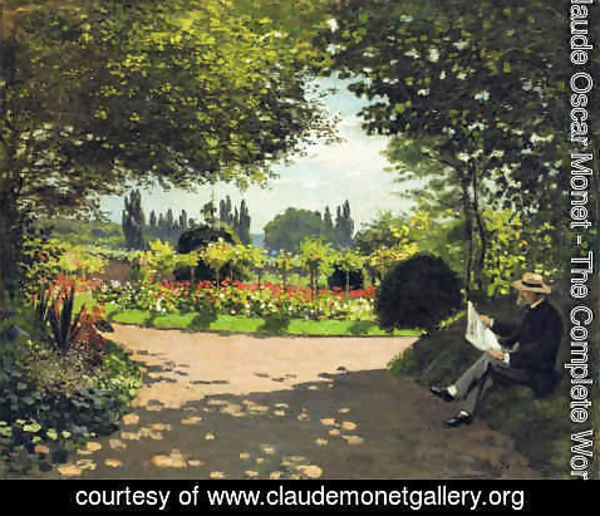 Claude Oscar Monet - Adolphe Monet Reading in the Garden