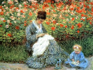 Claude Oscar Monet - Camille Monet and a Child in the Artist's Garden in Argenteuil