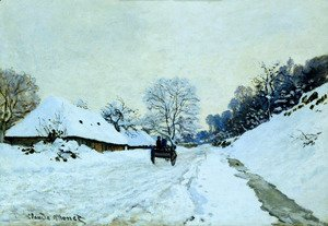 Claude Oscar Monet - A Cart On The Snow Covered Road With Saint Simeon Farm