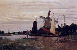 Claude Oscar Monet - A Windmill At Zaandam