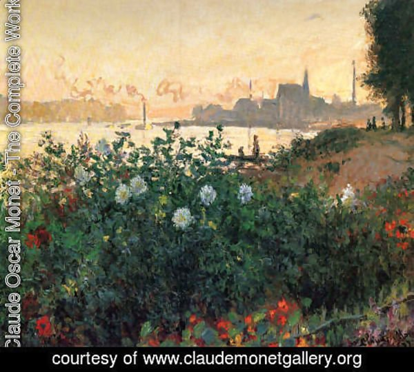 Claude Oscar Monet - Argenteuil  Flowers By The Riverbank