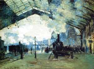 Claude Oscar Monet - Arrival Of The Normandy Train  Gare Saint Lazare