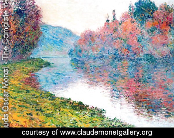 Claude Oscar Monet - Banks Of The Seine At Jenfosse Clear Weather