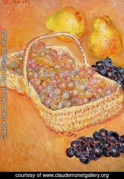 Claude Oscar Monet - Basket Of Graphes  Quinces And Pears