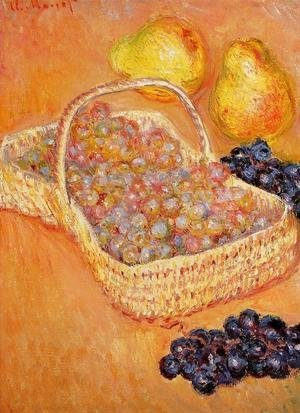 Basket Of Graphes  Quinces And Pears