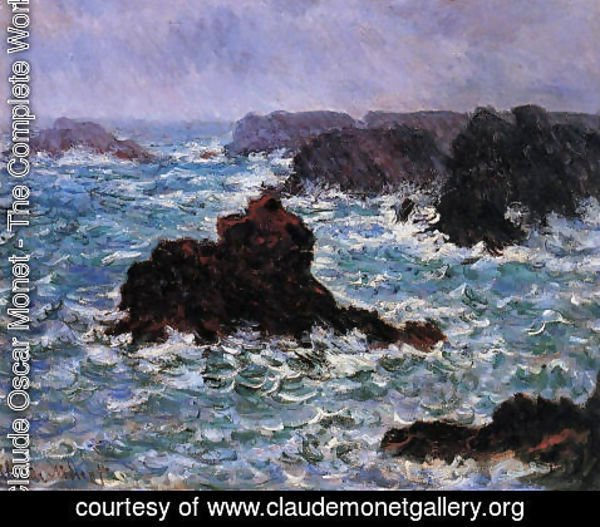 Claude Oscar Monet - Belle Ile  Rain Effect