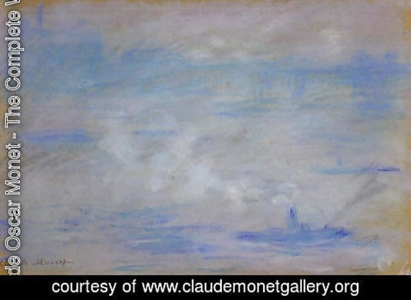 Claude Oscar Monet - Boats On The Thames  Fog Effect