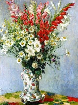 Claude Oscar Monet - Bouquet Of Gadiolas  Lilies And Dasies