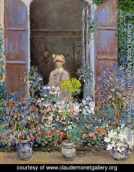 Claude Oscar Monet - Camille Monet At The Window  Argentuile