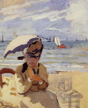Claude Oscar Monet - Camille Sitting On The Beach At Trouville