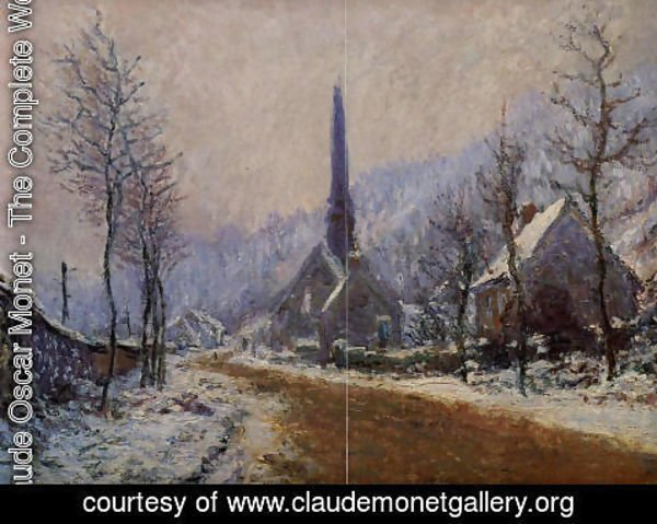 Claude Oscar Monet - Church At Jeufosse  Snowy Weather