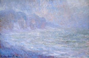 Claude Oscar Monet - Cliffs At Pourville  Rain